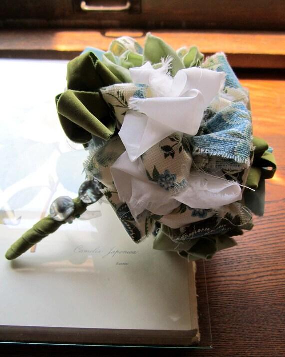 ON RESERVE Vintage Fabric Flower Pom Bouquet