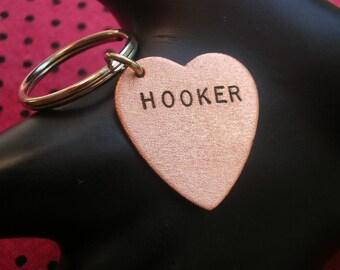 Hooker, Statement Keychain, BDSM, Copper Heart Keychain, Bad Girl Jewelry, Raunchy, Metal Art, Prostitute, Feminism, Slut, Whore, Mature