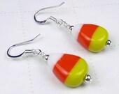 Candy Corn ceramic bead Earrings for Halloween, halloween earrings, orange earrings, yellow earrings, candy corn earrings