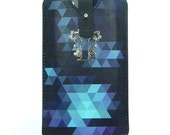 Leather iPhone 5 / new iTouch Case - Geometric Triangles in Indigo Blue