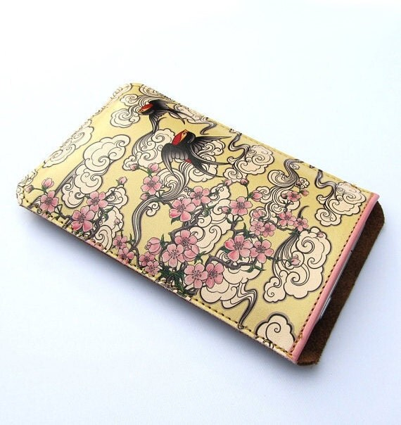 Leather iPhone (All) iTouch (All) sleeve / case - Cherry blossom and swallows design
