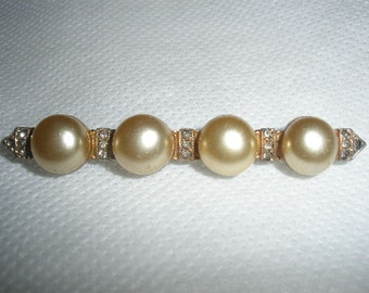 sale, vintage BAR pin, brooch, FABULOUS Glass Faux 1/4 inch Pearls, Rhinestones, 2 5/8 inces long, good working clasp