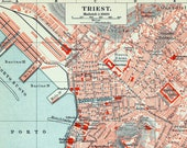 Antique Map of Trieste, Italy - 1895 Vintage German Map