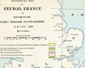 1888 Antique Map of Feudal France - Feudal France Antique Map - France Antique Map - A.D. 1152-1207 - Antique France Map