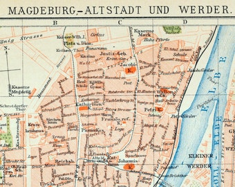 1894 Antique City Map of Magdeburg-Werder, Germany