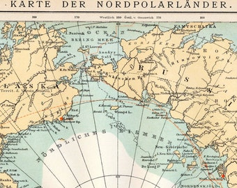 1902 German Antique Map of the North Pole