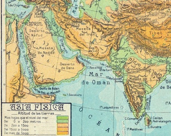 1940 Spanish Vintage Physical Map of Asia
