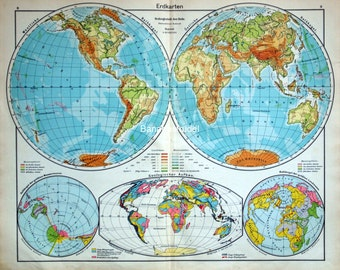 Antique Map of the World in Hemispheres. German Map from 1930s