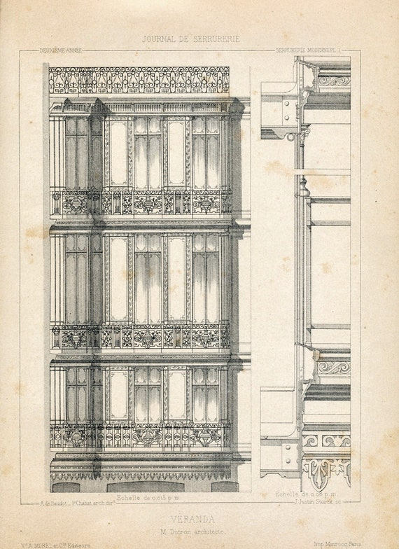 1880 French Antique Engraving of Decorative and Architectural Metalwork. Veranda. Plate 1