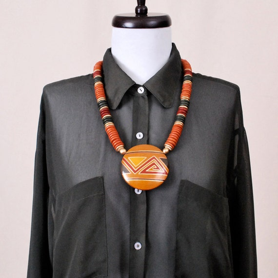 Vintage Statement Necklace - wood beads, large pendant necklace, hand painted triangles, geometric jewelry