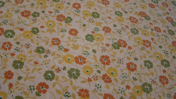 Sale was 13.00 now 9.00 Twin fitted Floral Yellow and Orange Sheet/ Reclaimed Bed Linens