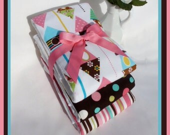 NEW Burp Cloth Gift Set for Baby Girl in Candy Dot Colors - Urban Birdhouse Coordinates