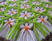 Retro Woven Kitchen Trivet, Orange Blossoms Trivet, Yarn Hot Pad, Yarn Serving Mat, Yarn Trivet, Woven Mat, Flower Hot Pad , St Patricks Day