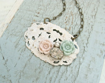 Shabby Chic Pastel Cluster Necklace.  Cream pink green with vintage rhinestone and pearl on an antique brass chain.