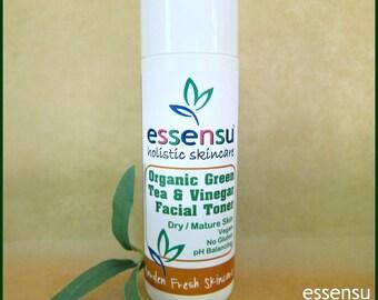 Organic Matcha Green Tea and Vinegar Dry to Mature Skin Refining Natural Facial Toner | Vegan | Balancing | Moisturizing | No Gluten - 8 oz