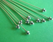 Sterling Silver 2 inch Fancy Head pins, 24 gauge (10) antique finish