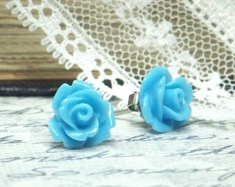 Blue Rose Earrings Blue Rose Studs Rosebud Earrings Sky Blue Earrings Blue Rose Studs Hypoallergenic Stud
