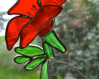 California Poppy Stained Glass Suncatcher