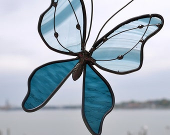 Slate Blue  Butterfly Stained Glass Suncatcher