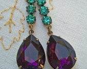 Fall Fashion Jewelry Purple Peacock Earrings Estate Style Victorian Holiday Sparkle  PEACOCK