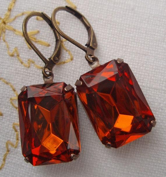 Vintage Amber Earrings Estate Style Jewelry Rhinestone Drop Earrings Downton Abbey Jewelry WINDSOR Madeira