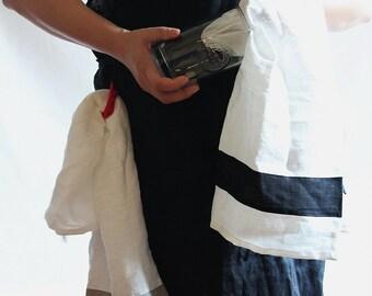 DISH TOWEL ...linen... White with black stripe