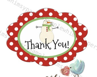 Snowman Stickers, Thank You Stickers, Ovals - set of 50