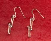 Sterling Silver Trombone Earrings Music Jewelry
