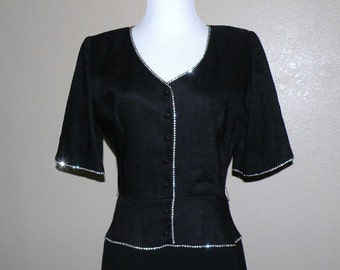 Designer WILLIAM PEARSON Little Black Dress with Rhinestones tag size 12 or Medium