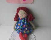 Rag doll, cloth doll, fabric doll, stuffed doll with red hair and flowery dress