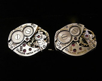 Steampunk watch movements cufflinks - Industrious - Steampunk - Cufflinks - Cuff Links -Repurposed - Up cycled