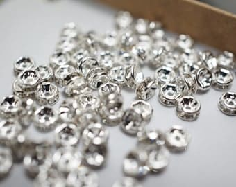 Silver Plated with White Rhinestone Spacers - 4mm - 20 pcs