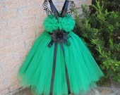 Tutu Dress, KELLY GREEN BLACK,  Birthday Tutu Dress.  Flower Girl Gown.  Photo Shoot Tutu Dress