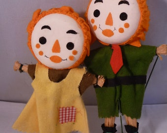 Darling Pair of Straw and Cloth Scarecrow Picks for Halloween or Thanksgiving