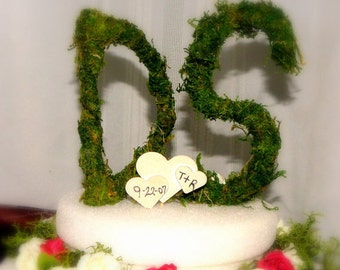 """6"""" Moss covered letter Cake Topper-Moss Alphabet-Moss Number-Table number-Organic all natural"""
