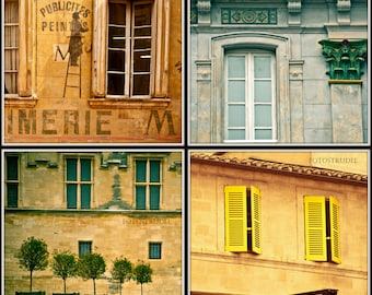 """Set of 4 Photographs of Windows in Avignon, Provence, Southern France. 5"""" x 5"""" Photos"""