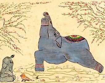 Yoga Art, Yoga, Elephant Yoga, Warrior I,  Elephant Art, Indian  Spirituality, Hatha Yoga, Animal Illustration, Yoga Illustration