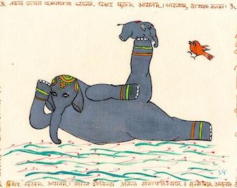 Yoga Art, Elephant Yoga, Indian Spirituality Art, Prone Reclining Pose Anantasana, Elephant Art, Hatha(i) Yoga
