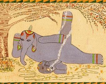 Elephant Yoga, Hatha (i) Yoga, Yoga Art, Reclining Posture Anantasana, Elephant Art