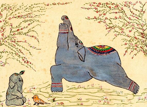 Yoga Art Warrior I  Elephant Art Veera bhadrasana I