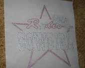Heat Transfer Rodeo Cowgirl Star Hat in Pink and Clear Crystals