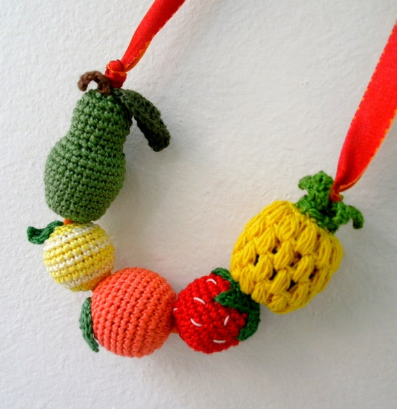 Crochet Fruits Necklace - Amigurumi Fruits Necklace - Crochet Beads Necklace - Crochet Jewelry - Colorful and Fun Children's Necklace