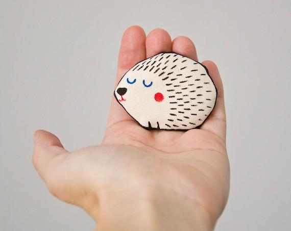 Hedgehog Brooch Handpainted  - Cute art brooch in cotton