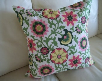 Mod Floral Throw Pillow Cover Pink, Green, Yellow 18 x 18