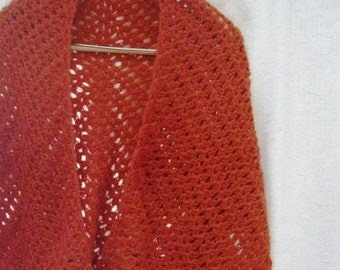 Crochet Shawl Wrap Sienna Burnt Orange Tangerine Triangle Stole Fall Fashion Accessory