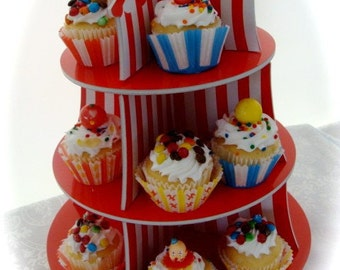 Adorable Circus Display Cupcake Tier for Assemblage or Carnival Art