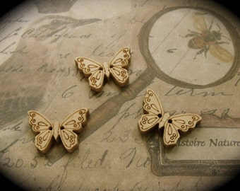6 Wooden Nature Butterfly Buttons