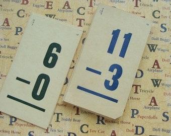 1959 Numbered  Antique Subtraction Children's Math Flash Cards