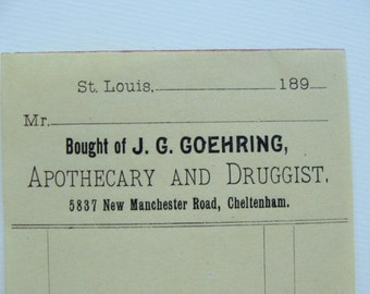 120 Year Old Divine Unused Apothecary Ledger Invoice