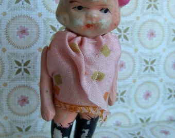 Reserved Antique Hand Painted Bisque Girl Doll